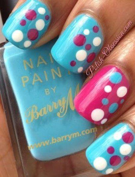 unha bolinhas azul e rosa