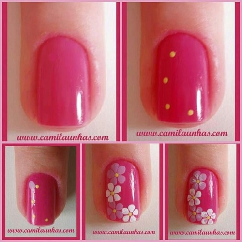 unha flor rosa amarelo lilás