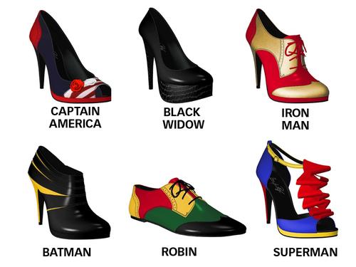 sapatos diversos heróis