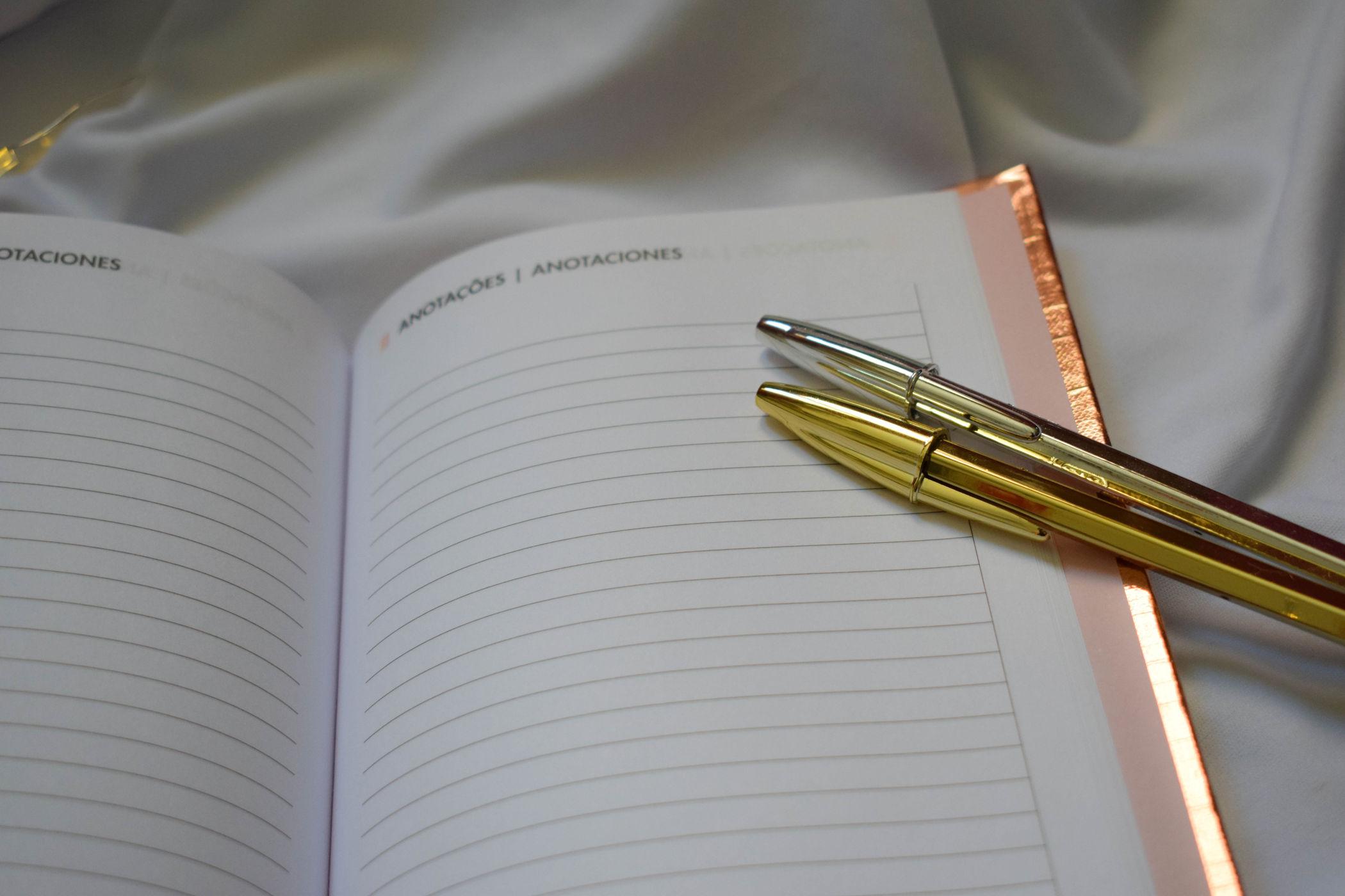 planner metalizado anotações